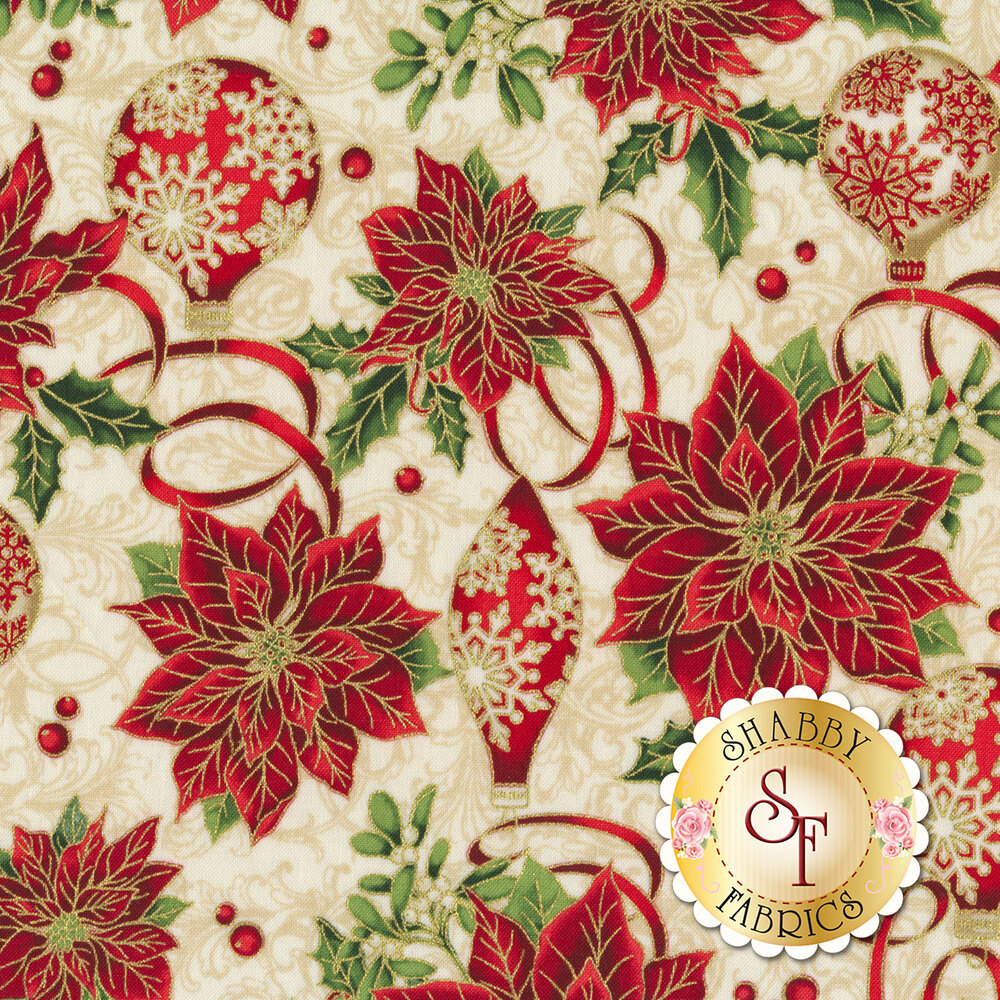 Red poinsettias with ornaments and Christmas ribbons   Shabby Fabrics