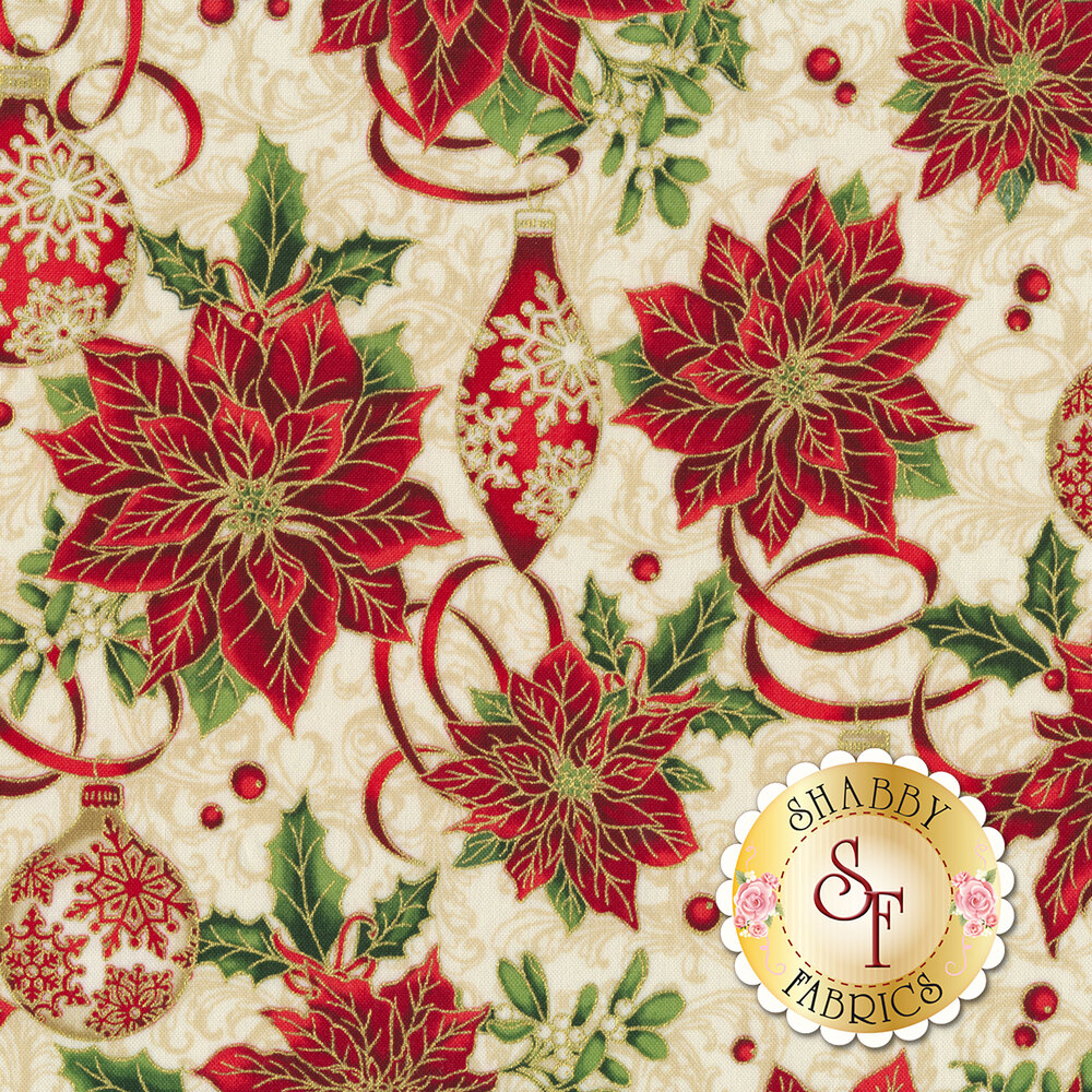 Red poinsettias with ornaments and Christmas ribbons | Shabby Fabrics