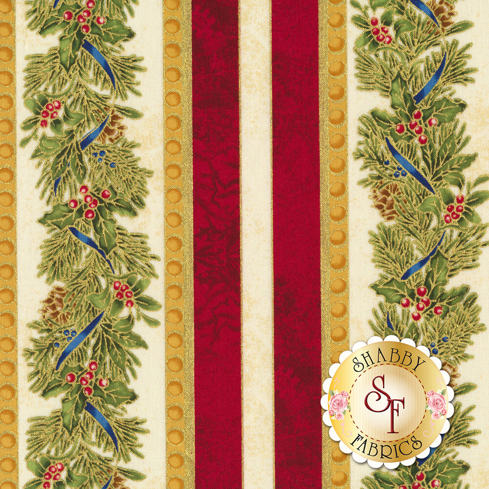 Christmas border stripe with evergreen and holly | Shabby Fabrics