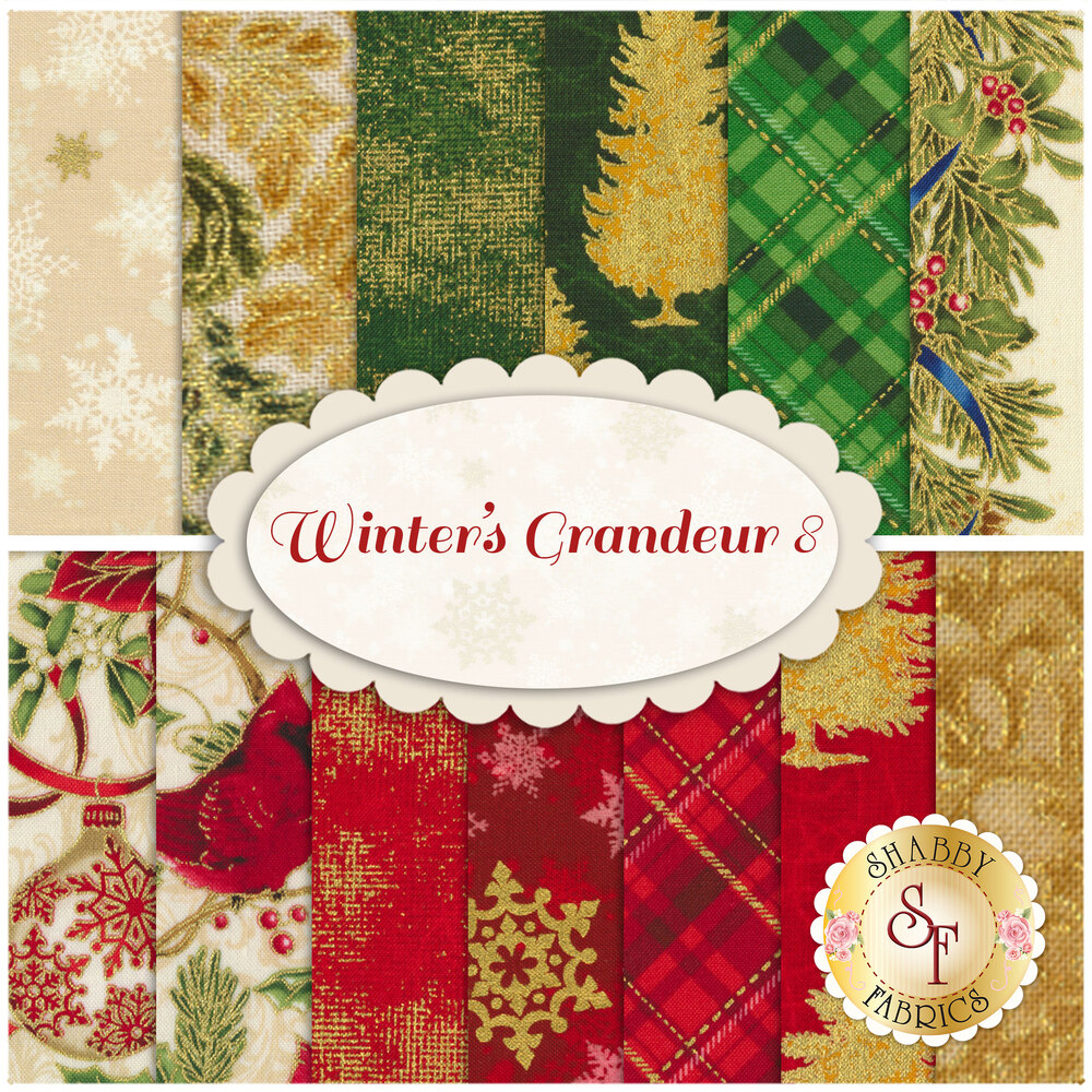 Collage of fabrics included in Winter's Grandeur 8 set | Shabby Fabrics
