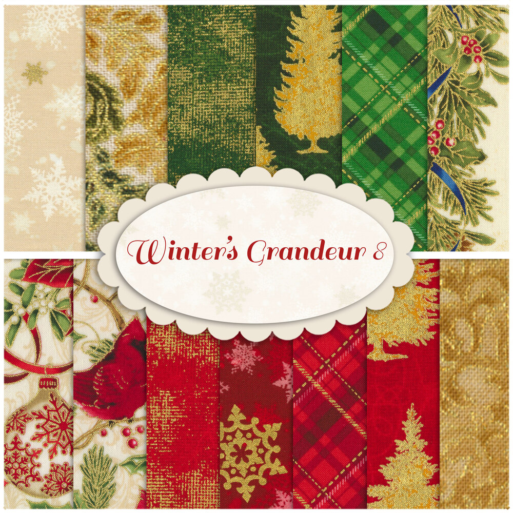 Collage of fabrics included in Winter's Grandeur 8 set   Shabby Fabrics