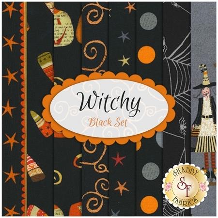 Witchy  8 FQ Set - Black Set by Studio E Fabrics