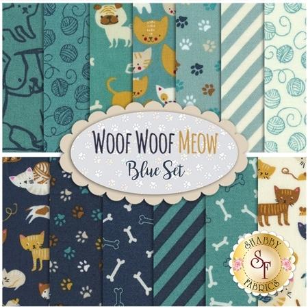 Woof Woof Meow  13 FQ Set - Blue Set by Moda Fabrics