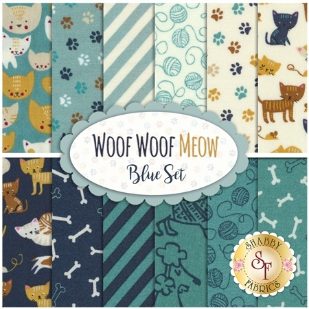 Woof Woof Meow  12 FQ Set - Blue Set by Moda Fabrics