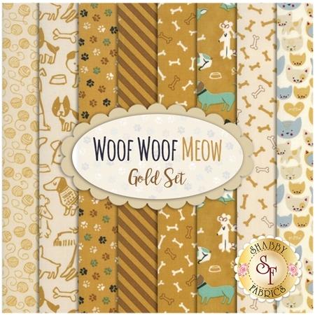 Woof Woof Meow  8 FQ Set - Gold Set by Moda Fabrics