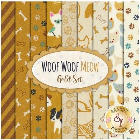 Woof Woof Meow  9 FQ Set - Gold Set by Moda Fabrics