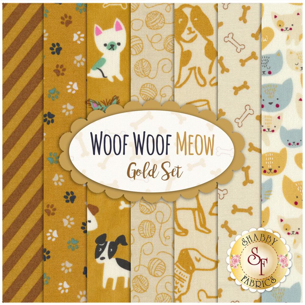 Woof Woof Meow  7 FQ Set - Gold Set by Moda Fabrics