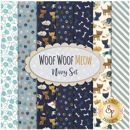 Woof Woof Meow  7 FQ Set - Navy Set by Moda Fabrics