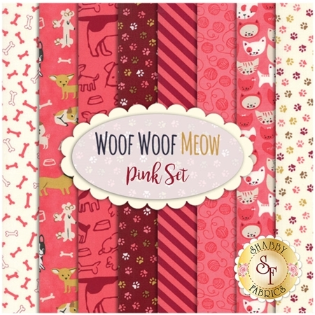 Woof Woof Meow  9 FQ Set - Pink Set by Moda Fabrics