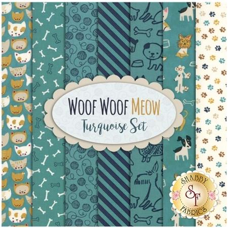 Woof Woof Meow  7 FQ Set - Turquoise Set by Moda Fabrics
