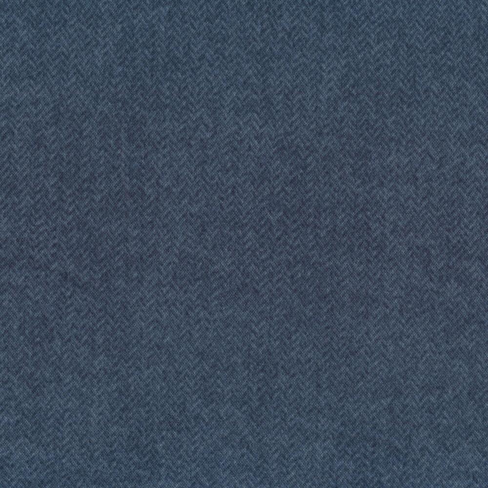 Tonal blue herringbone print   Shabby Fabrics
