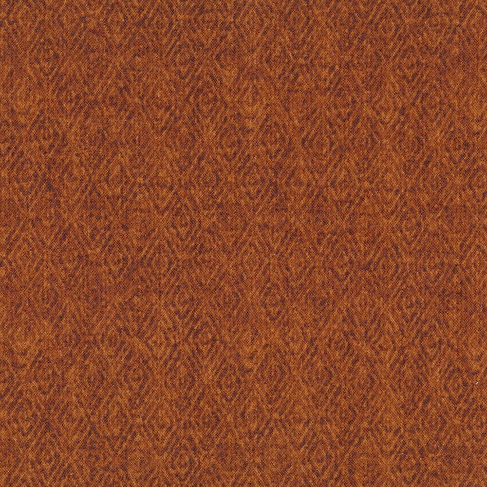 Tonal orange diamond flannel | Shabby Fabrics
