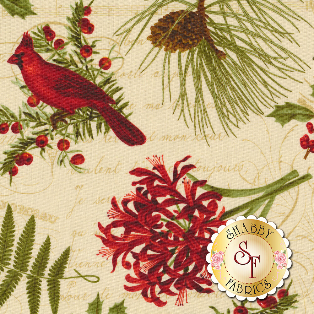Poinsettias, cardinals, and holly tossed on cream | Shabby Fabrics