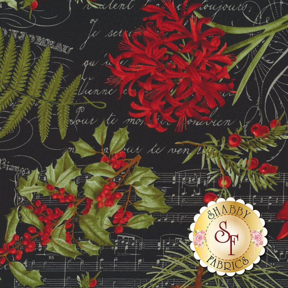 Poinsettias, cardinals, and holly tossed on black | Shabby Fabrics