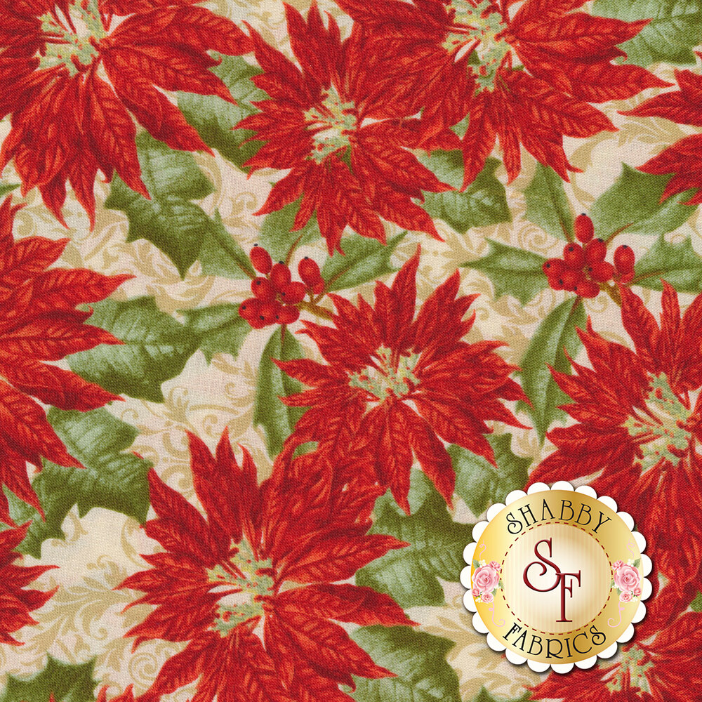 Red poinsettias with green leaves on cream | Shabby Fabrics