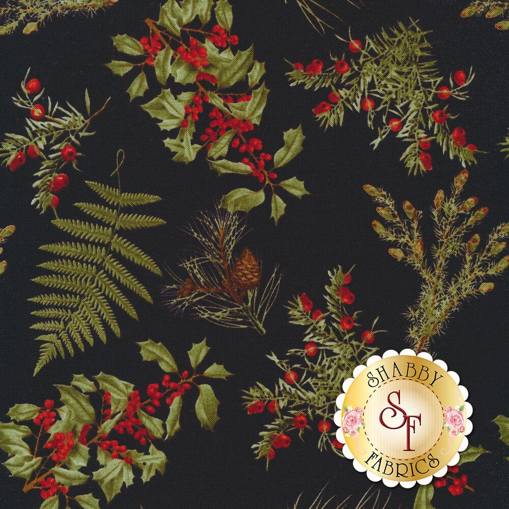 Tossed Christmas greenery on black | Shabby Fabrics