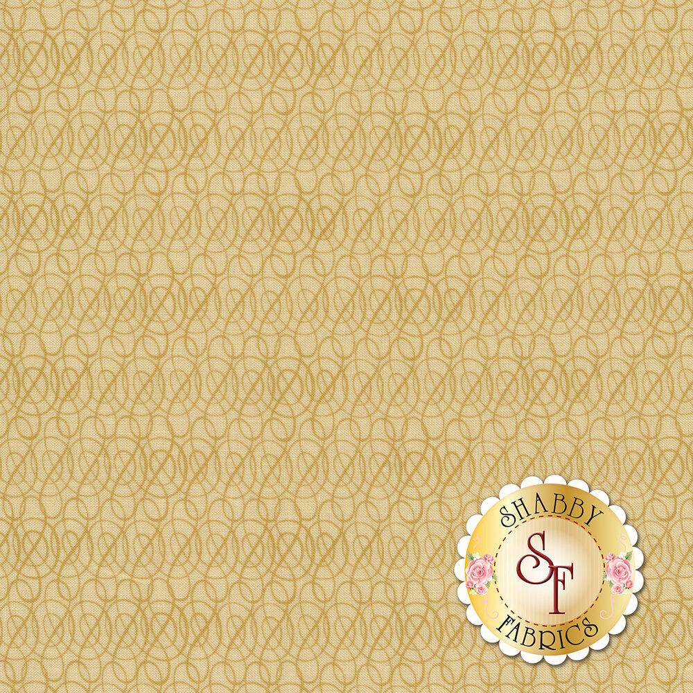 Gold scroll design all over cream | Shabby Fabrics