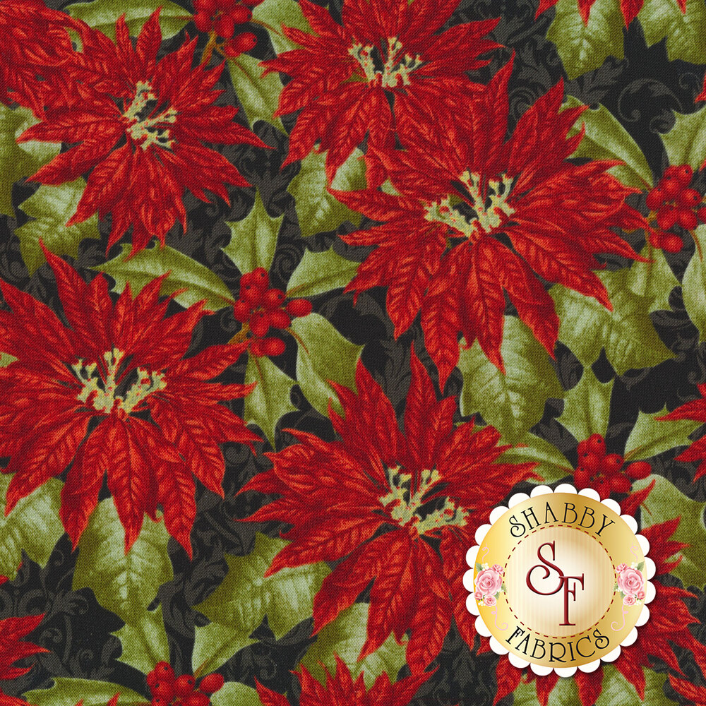 Red poinsettias with green leaves on black | Shabby Fabrics
