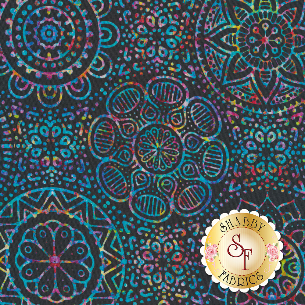 Large multicolored medallion design on black | Shabby Fabrics