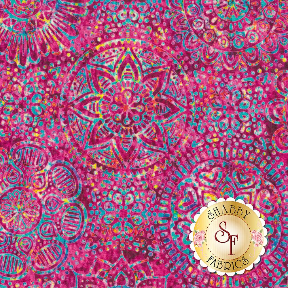 Large multicolored medallion design on mottled pink | Shabby Fabrics