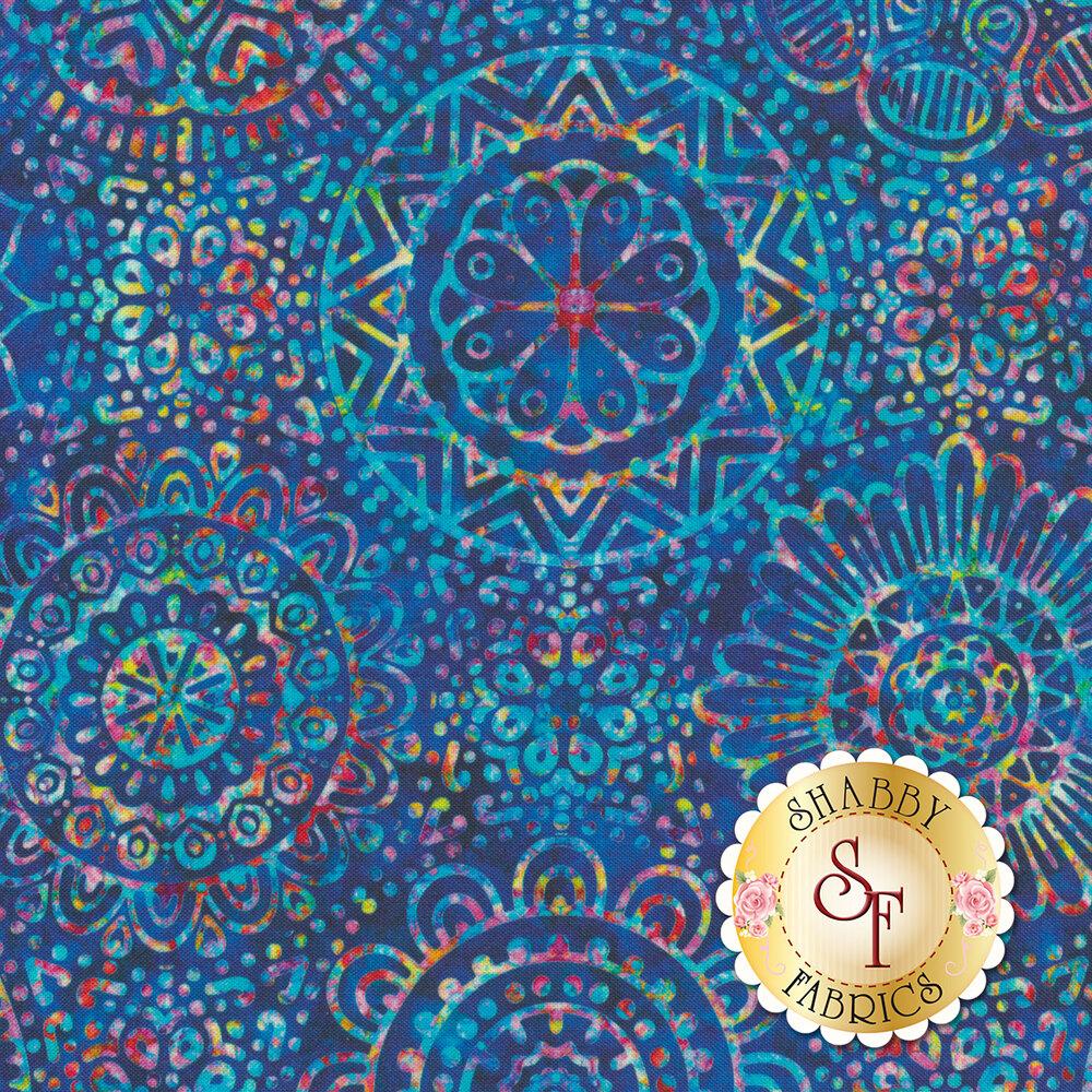 Large multicolored medallion design on royal blue | Shabby Fabrics