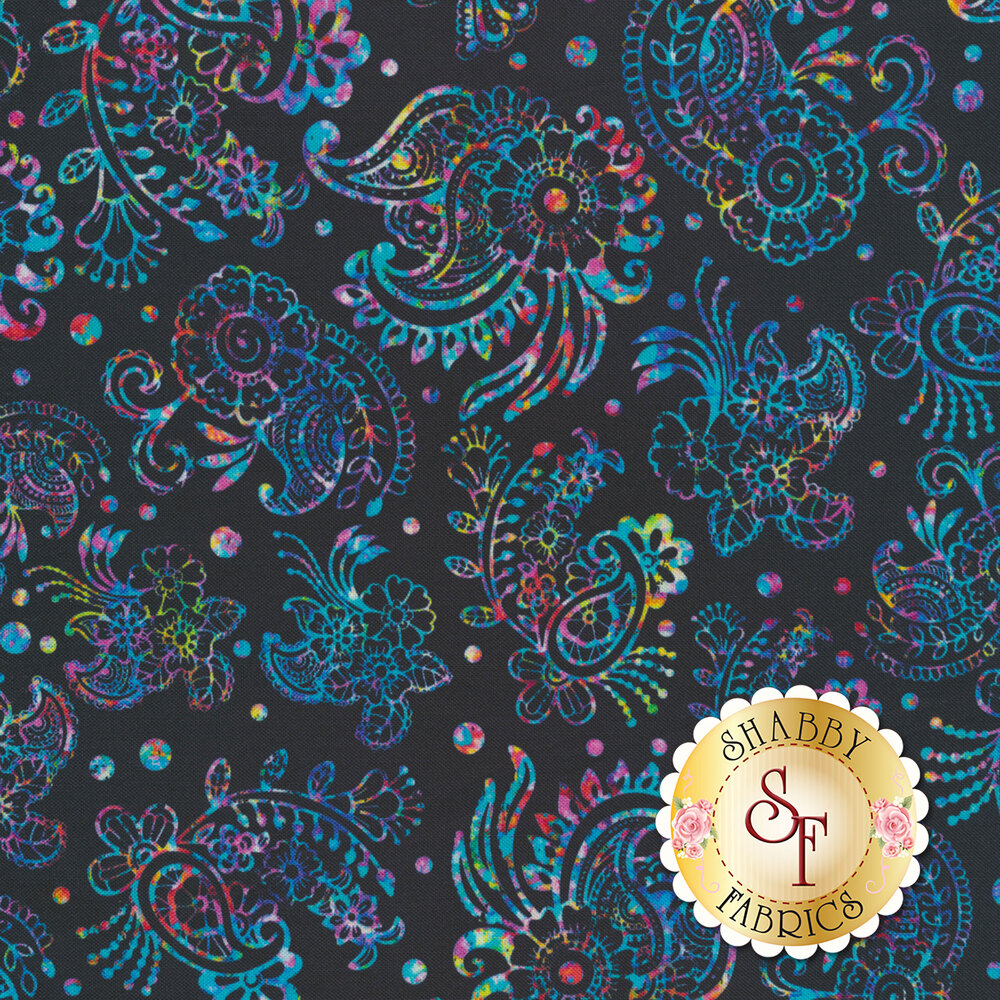 Multicolored flower and paisley design on black | Shabby Fabrics