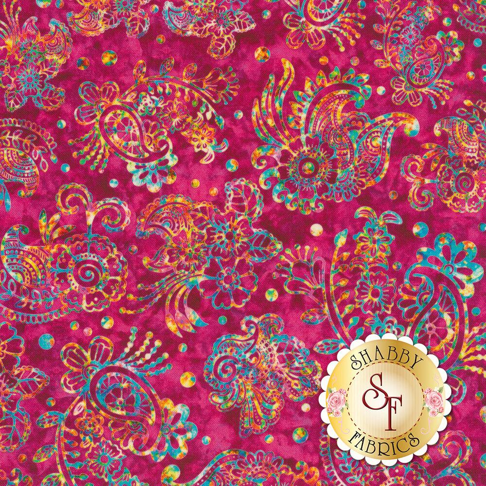 Multicolored flower and paisley design on mottled magenta | Shabby Fabrics