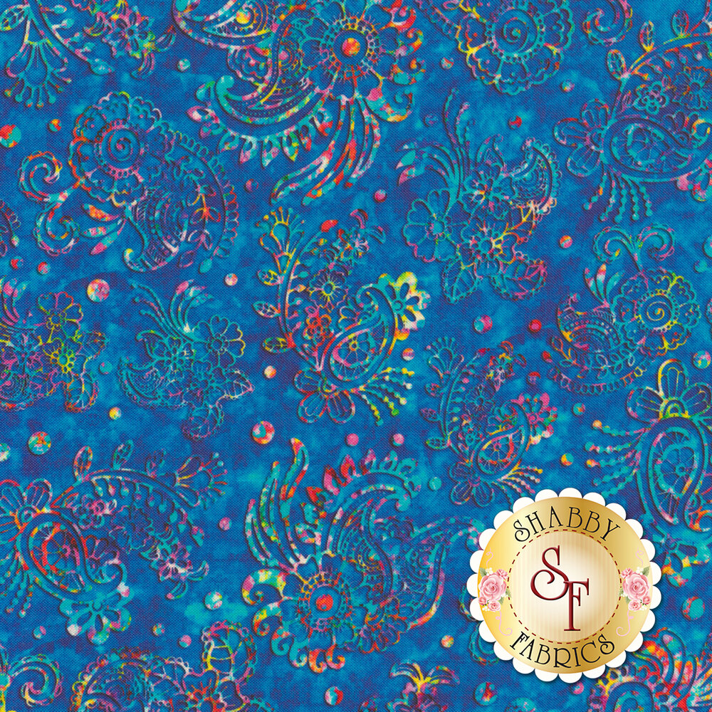 Multicolored flower and paisley design on mottled blue | Shabby Fabrics