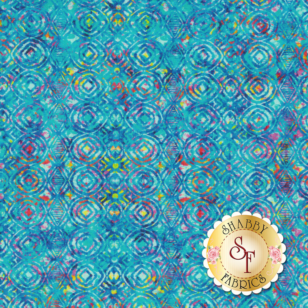 Blue geometric design with multicolored accents | Shabby Fabrics