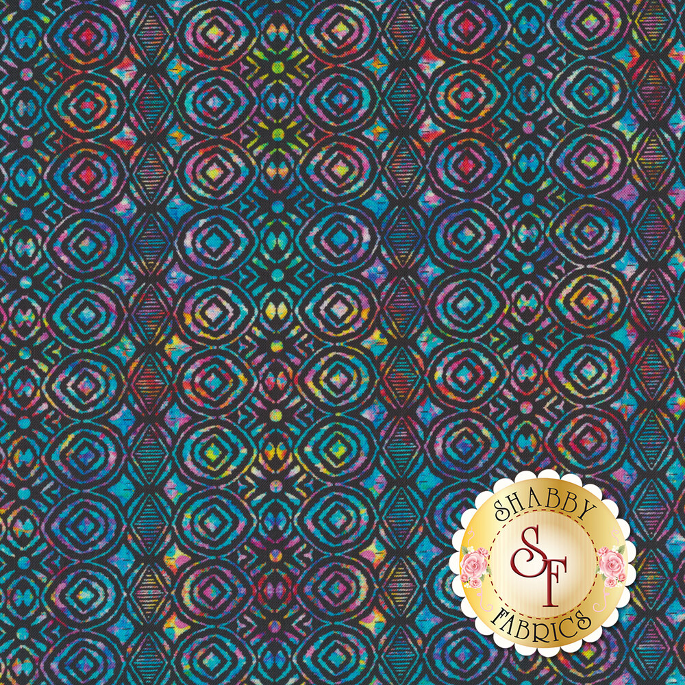 Multicolored geometric design on black | Shabby Fabrics