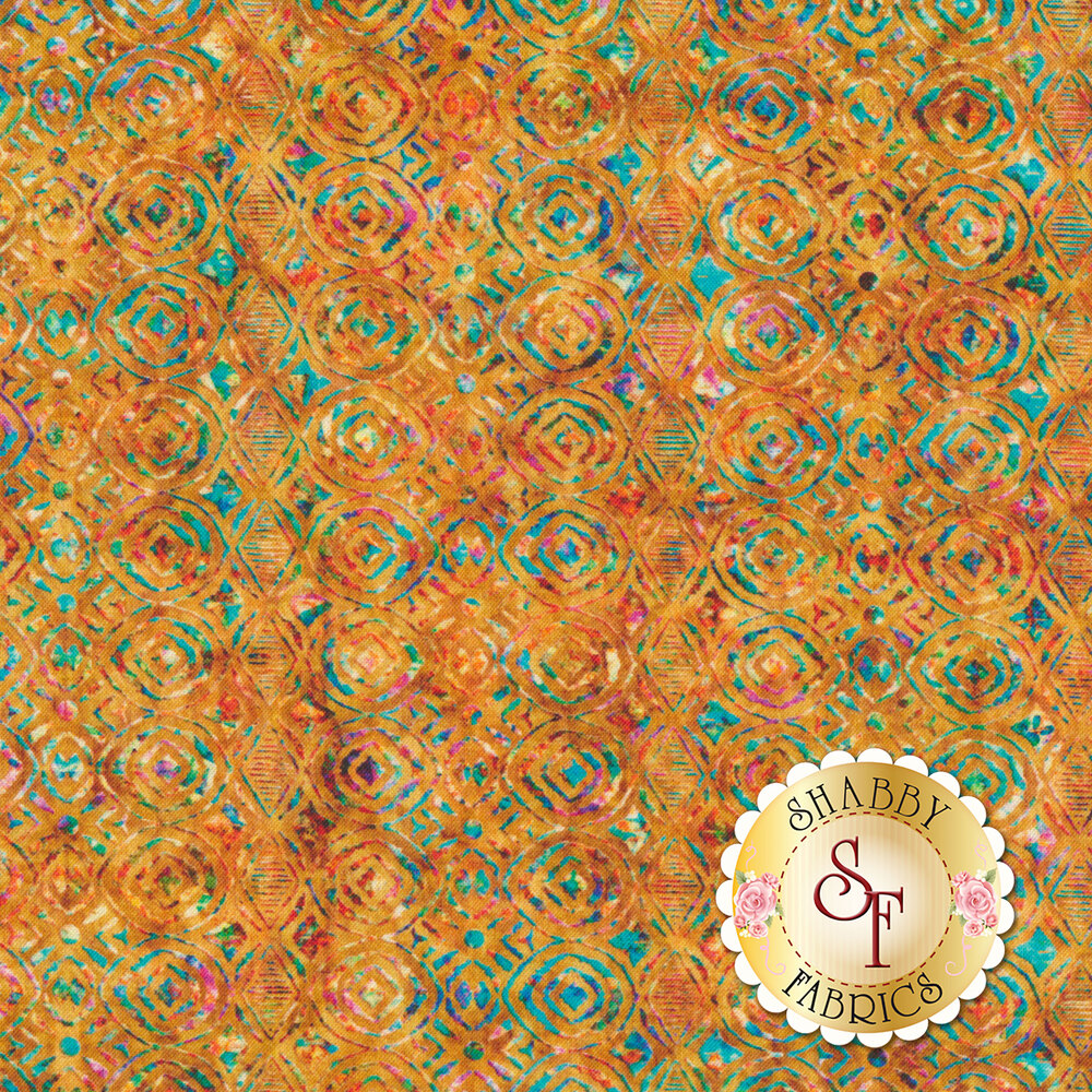 Multicolored geometric design on orange | Shabby Fabrics