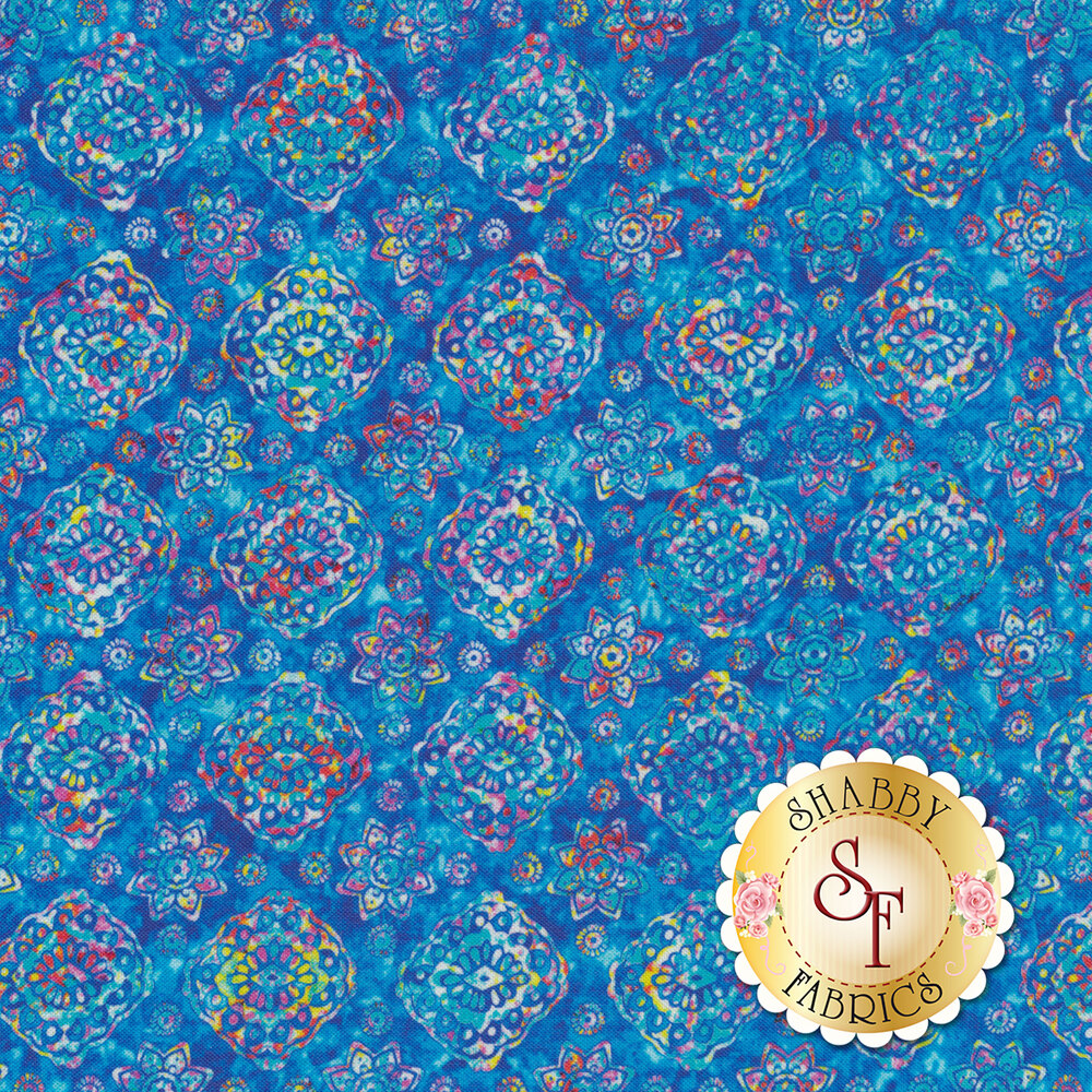 Multicolored floral designs on blue | Shabby Fabrics