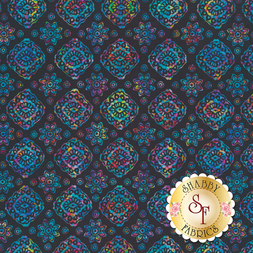 Multicolored floral designs on black | Shabby Fabrics