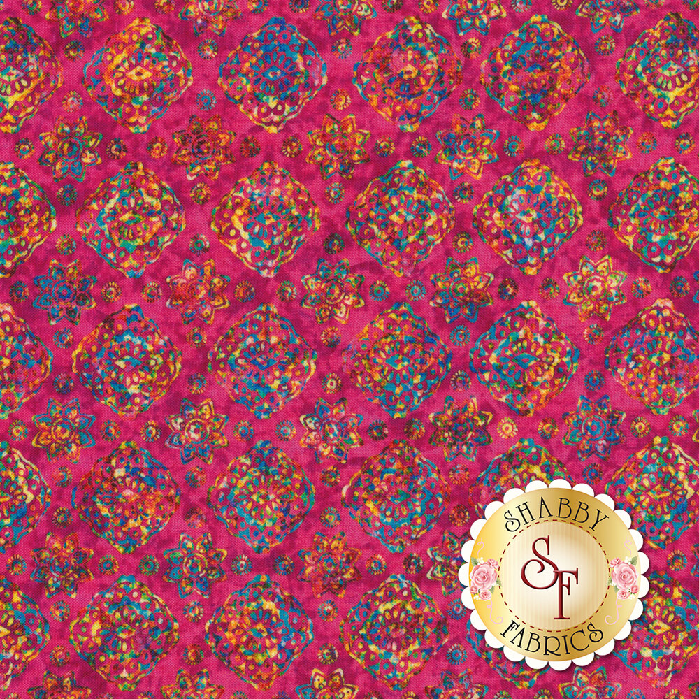 Multicolored floral designs on magenta | Shabby Fabrics