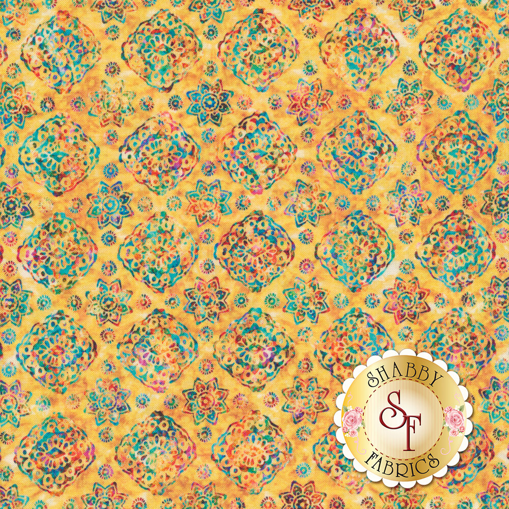 Multicolored floral designs on mottled yellow | Shabby Fabrics