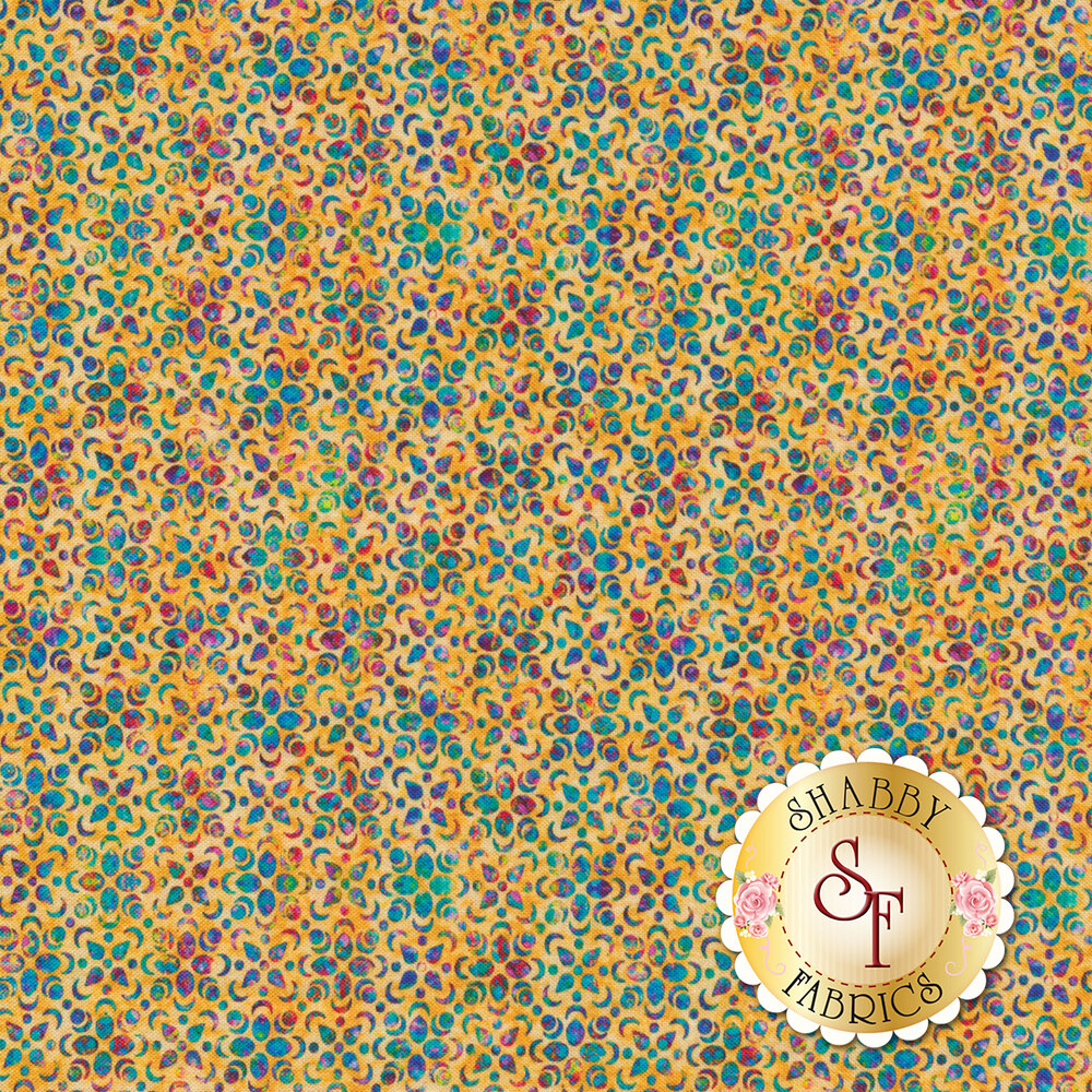 Multicolored floral petal design all over yellow | Shabby Fabrics