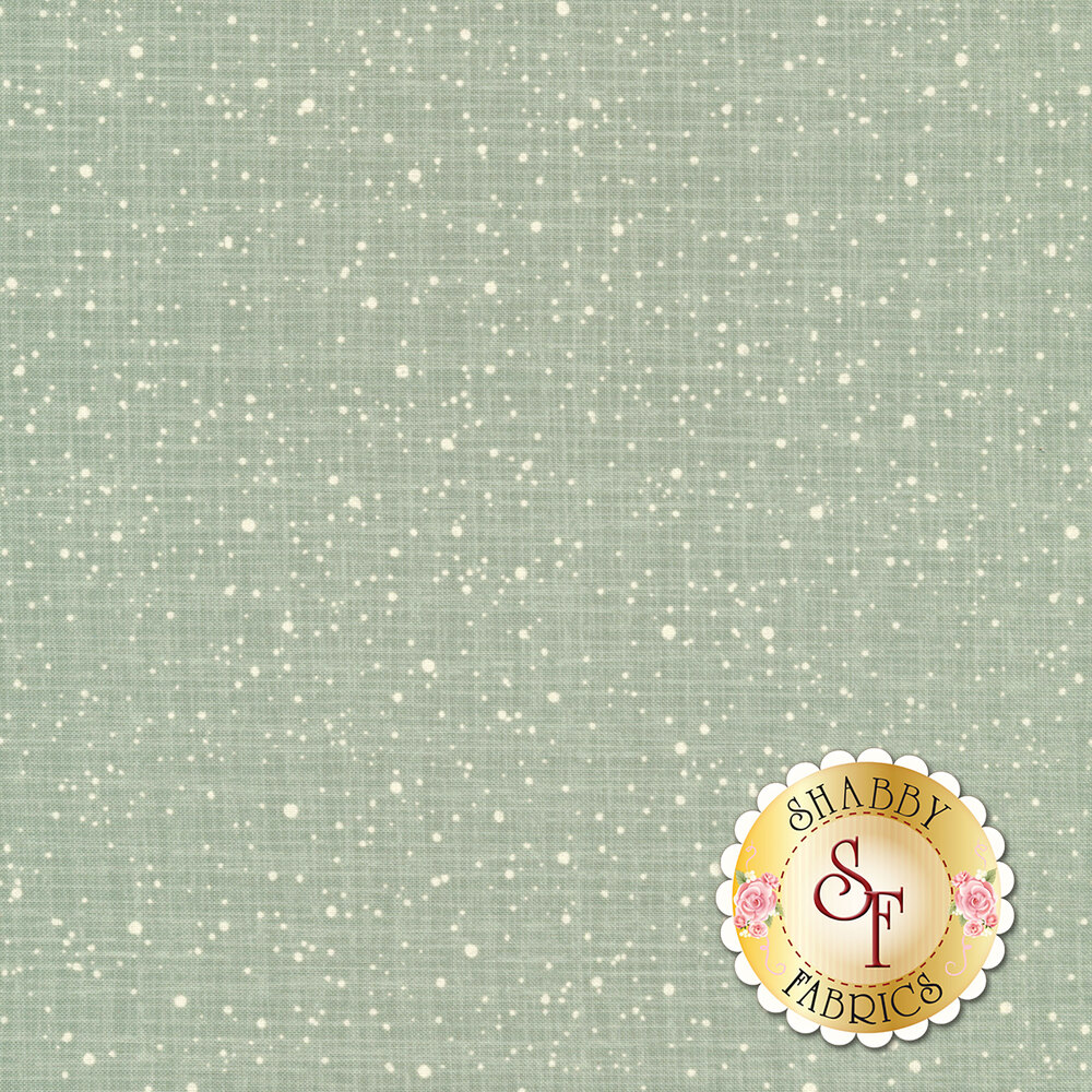 Small white snowflakes all over a dull teal textured background | Shabby Fabrics
