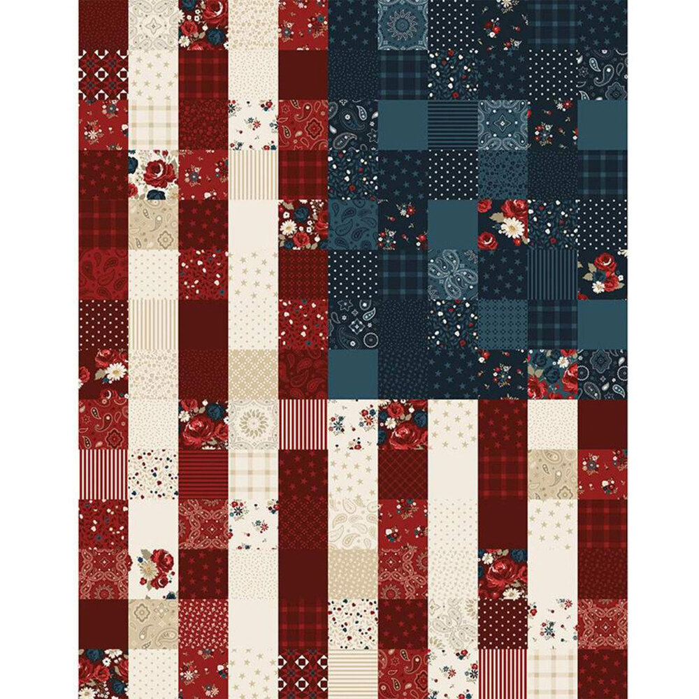 Red, Blue, and white patchwork print panel | Shabby Fabrics