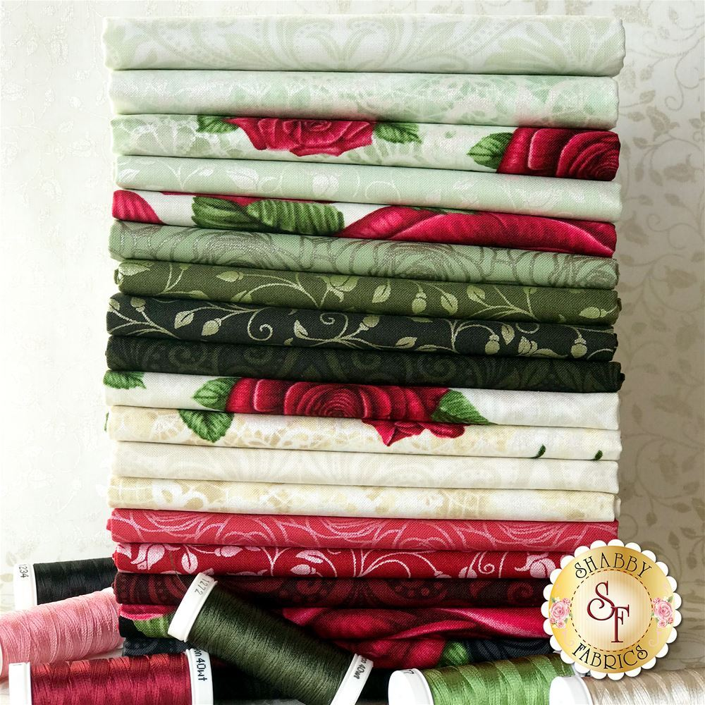An photograph of the fabrics featured in the A Festival of Roses FQ Set | Shabby Fabrics
