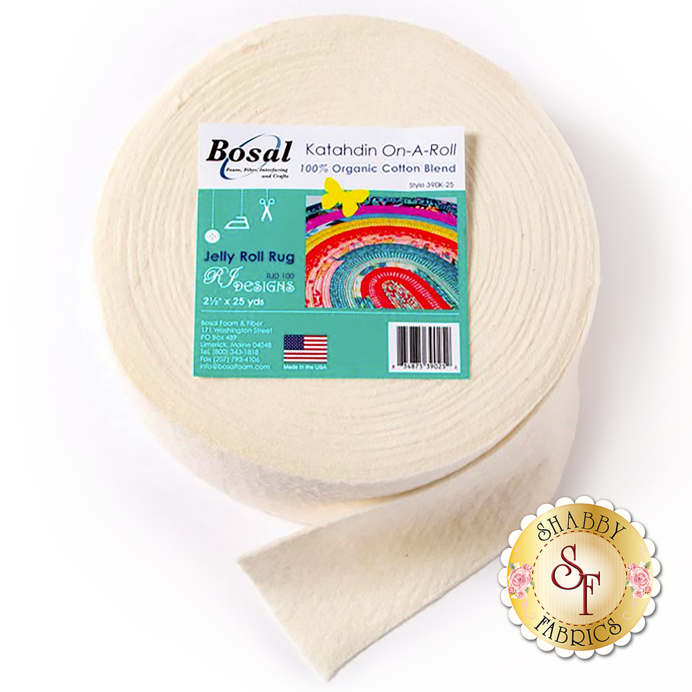 Bosal Katahdin 100% Cotton Batting - 25yds - For Jelly Roll Rugs