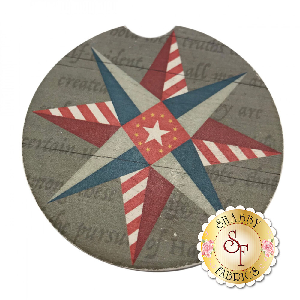Circular stone car cup holder coaster with a patriotic geometric star design
