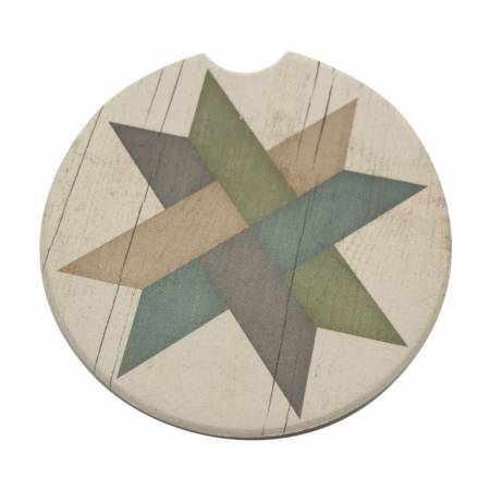 Circular stone car cup holder coaster with a geometric star design