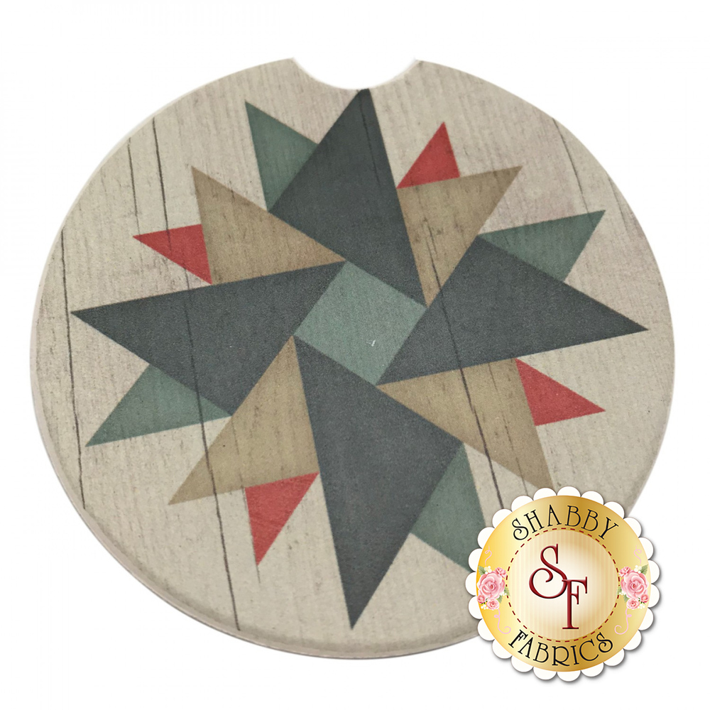 Circular stone car cup holder coaster with a geometric star design
