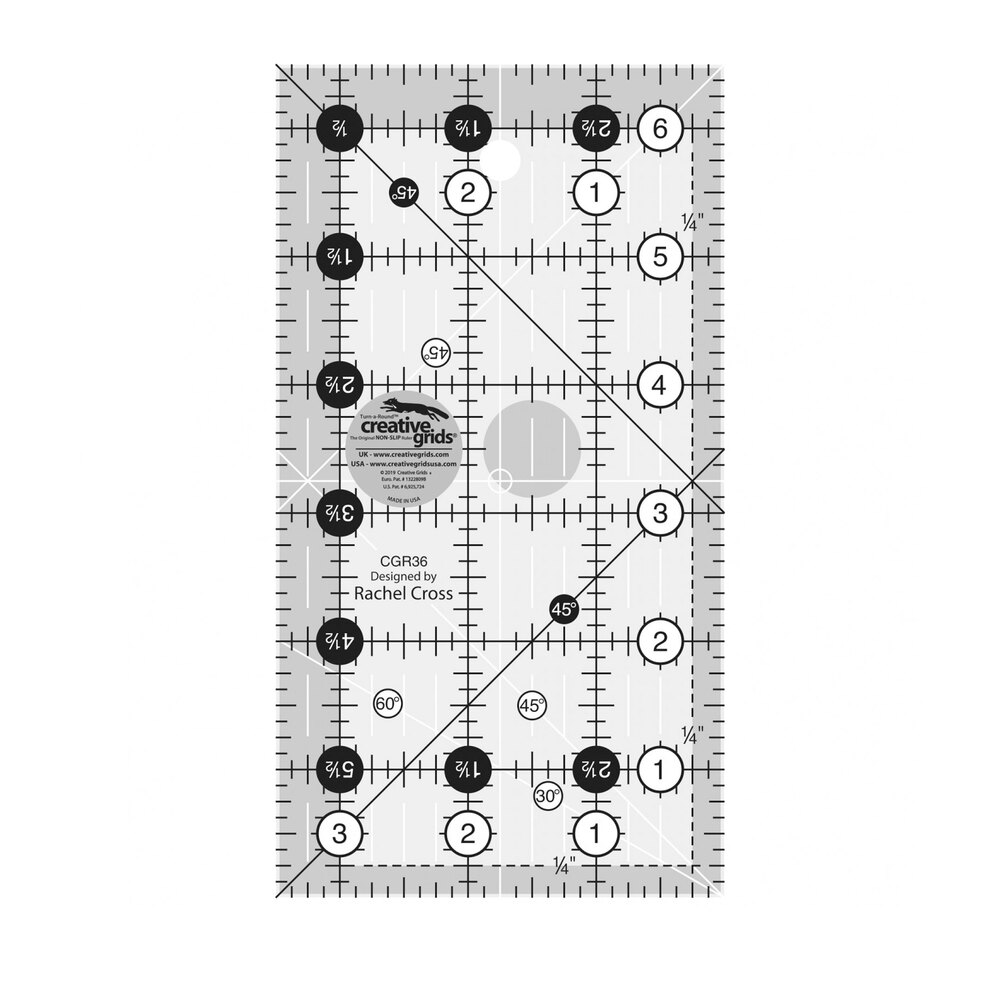 "Creative Grids - 3½"" x 6½"" Ruler #CGR36 with black and white numbers and dash lines 