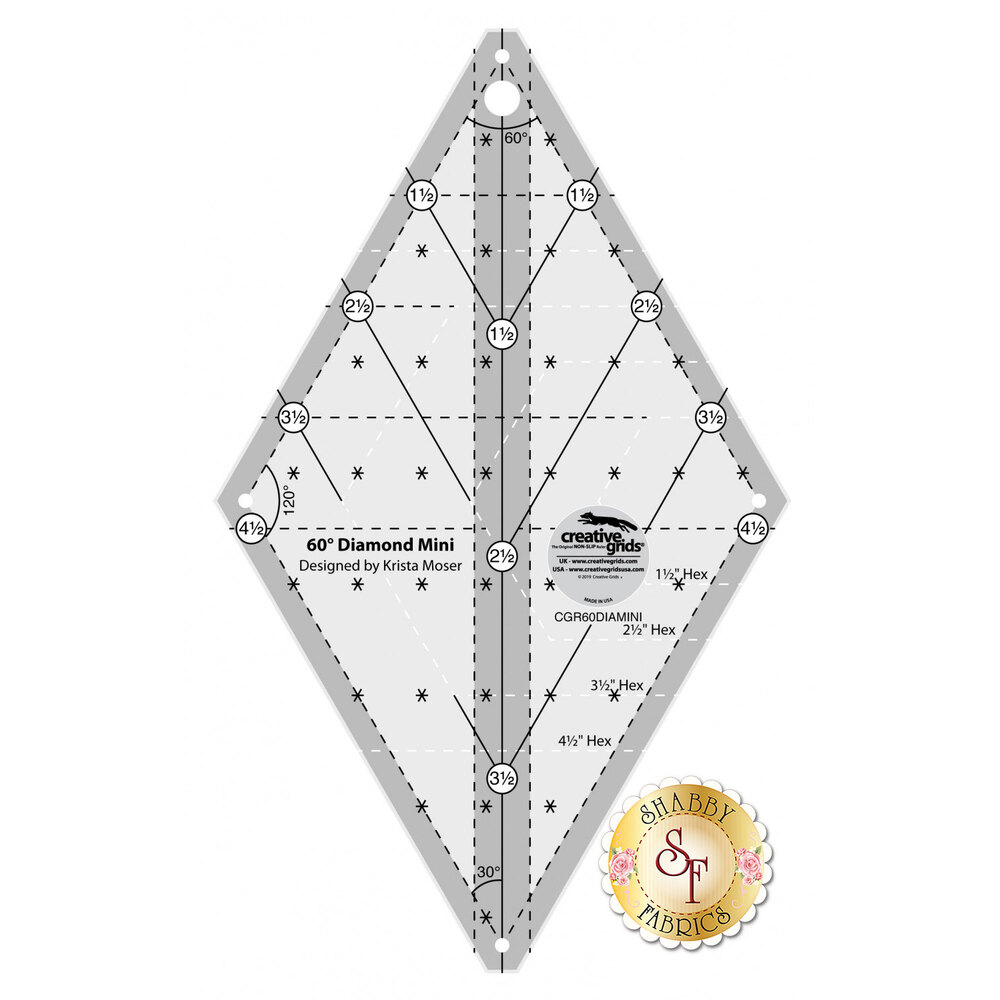 Creative Grids 60 Degree Mini Diamond Ruler #CGR60DIAMINI