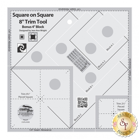 """Creative Grids Square on Square Trim Tool - 4"""" or 8"""" Finished #CGRJAW8"""