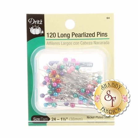 Dritz Pearlized Long Pins - 120ct Size 24 - 1½""