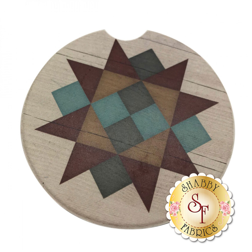 Circular stone car cup holder coaster with a multi color geometric star design
