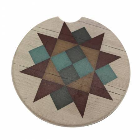 Circular stone car cup holder coaster with a multi color geometric star design