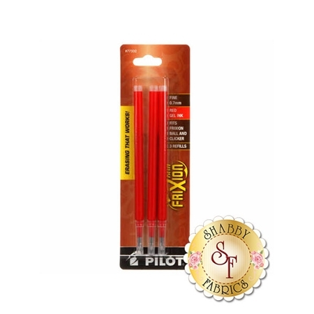 Frixion Clicker Pen Red Fine Point 0.7mm Refill - 3 Pack